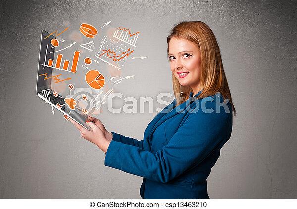 beau, statistiques, graphiques, cahier, tenue, dame - csp13463210