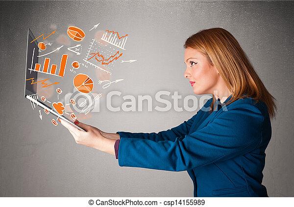 beau, statistiques, graphiques, cahier, tenue, dame - csp14155989