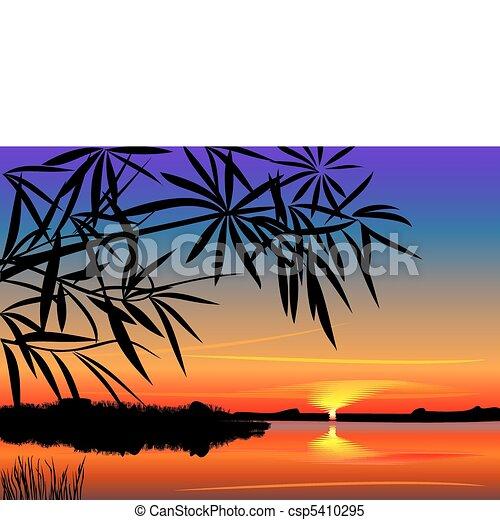 beau, sur, vecteur, coucher soleil, lac - csp5410295