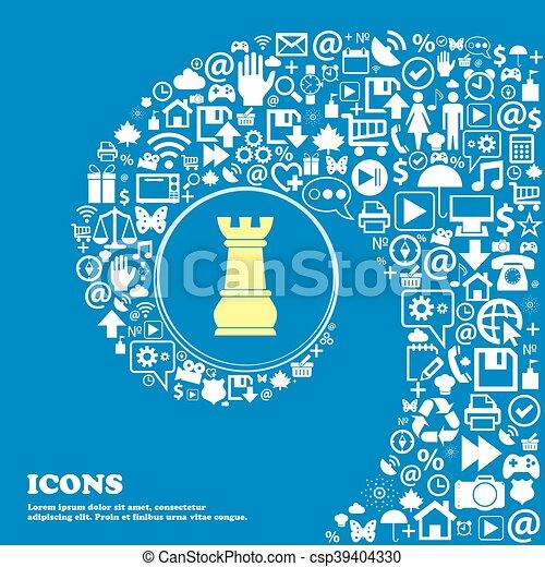 beau, symbols., centre, icônes, freux, tordu, vecteur, spirale, grand, ensemble, échecs, icon., une, gentil - csp39404330
