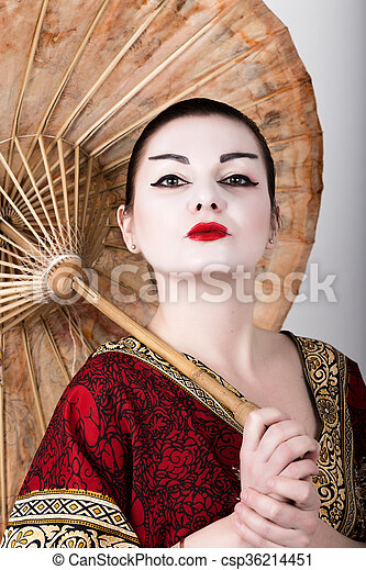 Beau, Traditionnel, Umbrella., Tenue, Chinois, Geisha, Habillé, Maquillage,  Japonaise, Cheveux, Photo Libre De Droits