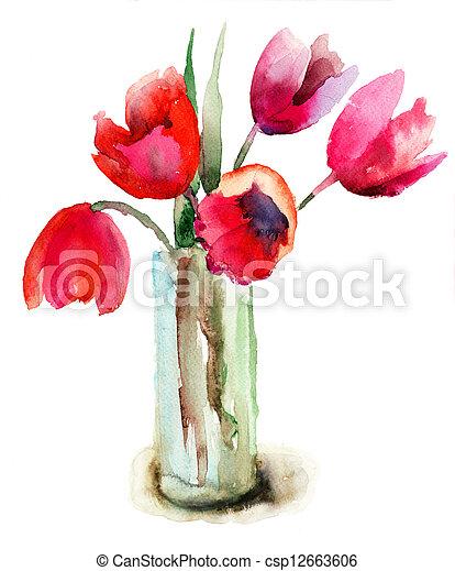 beau, tulipes, fleurs - csp12663606