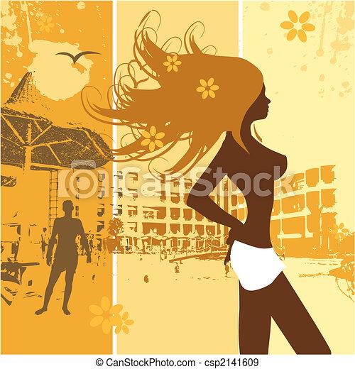 beau, vacances été, femme, plage - csp2141609