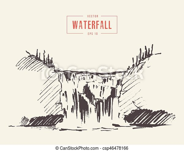 beau, vendange, chute eau, illustration, dessiné - csp46478166