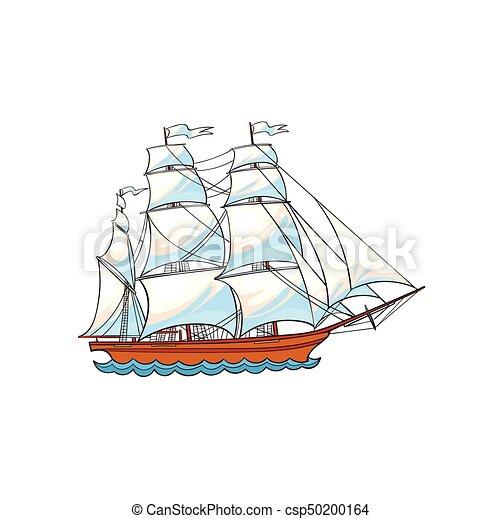 Beau Voile Voilier Bateau Blanc Voiles Beau Croquis Voile Voilier Voilier Isole Illustration Main Arriere Plan Canstock