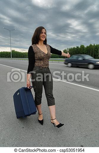 beau, voitures, arrêt, femme, valise - csp53051954