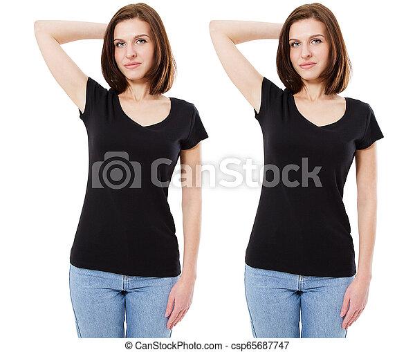 beau, vue., brunette, mockup, femme, t-shirt, arrière-plan., tshirt, noir, gabarit, devant, girl, blanc - csp65687747