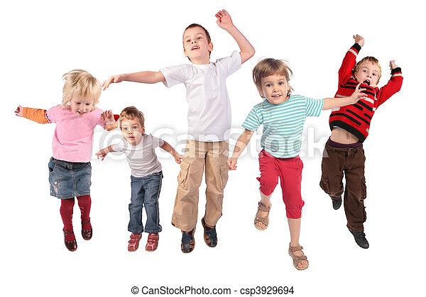 beaucoup, blanc, sauter, enfants - csp3929694