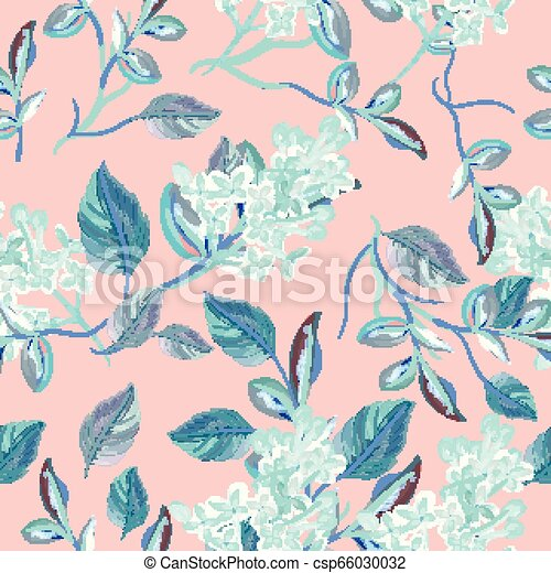 Beautfiul floral vector pattern with spring florals and flowers - csp66030032