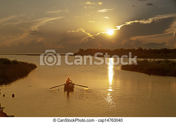 Beautful sunrise with nice beach - csp14763040
