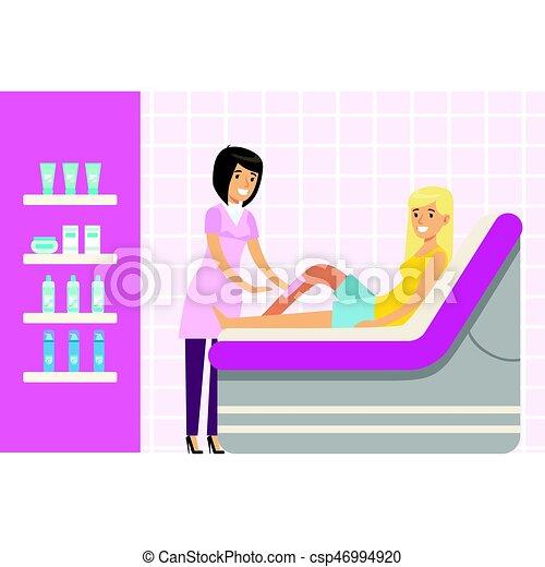 Beautician waxing woman leg at spa or beauty salon. Colorful cartoon character vector Illustration - csp46994920