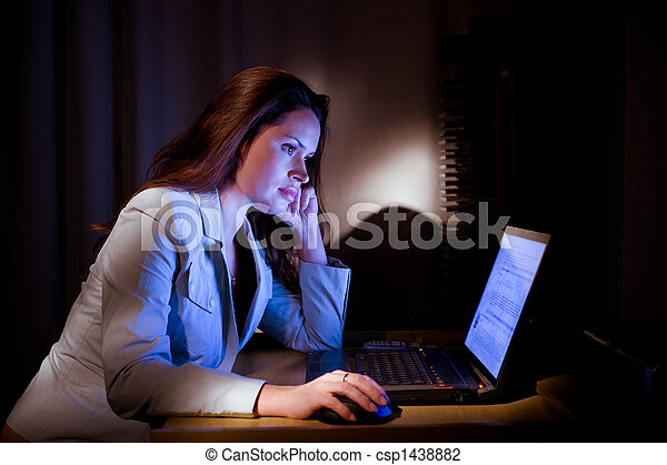 Beautifil lady is surfing the internet late - csp1438882