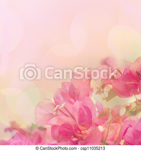 Beautiful abstract floral background with pink flowers. Border design - csp11035213