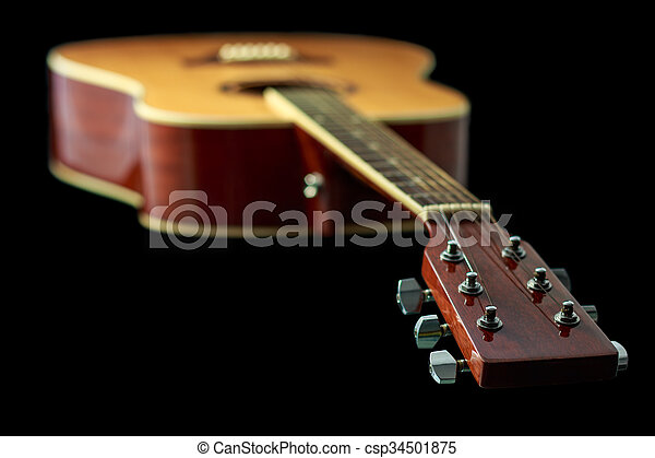 Beautiful Acoustic Guitar Isolated On Black Background