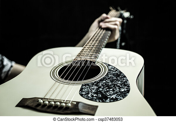 Beautiful Acoustic Guitar On Black Background