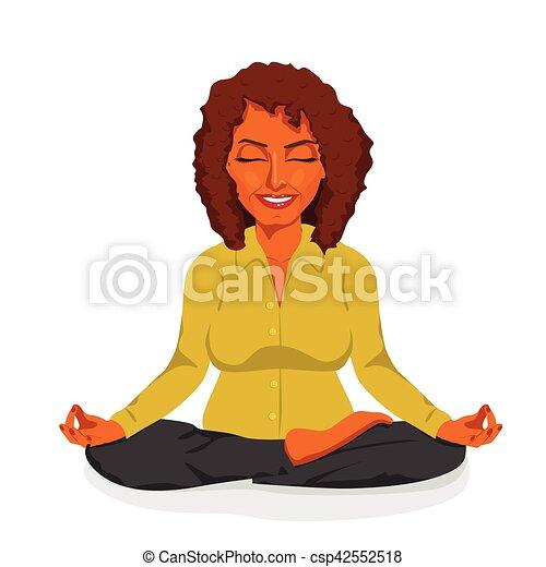 beautiful african american businesswoman relaxing happy in yoga lotus pose - csp42552518