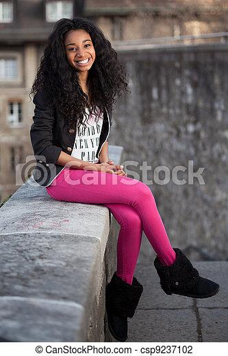 Beautiful african american teenage girl - csp9237102
