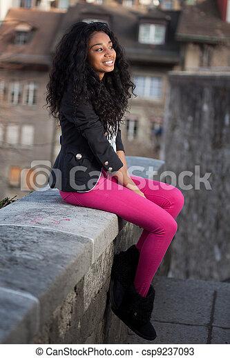 Beautiful african american teenage girl - csp9237093