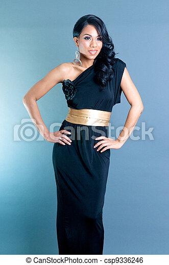 Beautiful African American Woman hands on waist - csp9336246