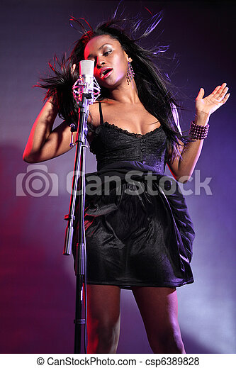 Beautiful african american woman music singer - csp6389828