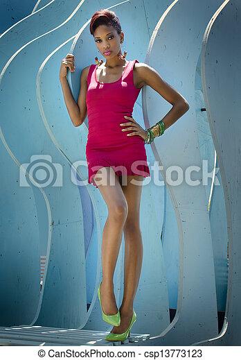 Beautiful African American woman - csp13773123