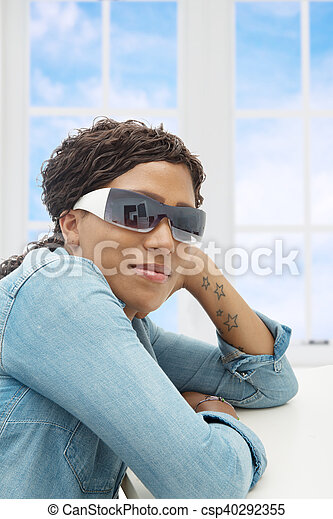 beautiful African American  young woman with sunglasses - csp40292355