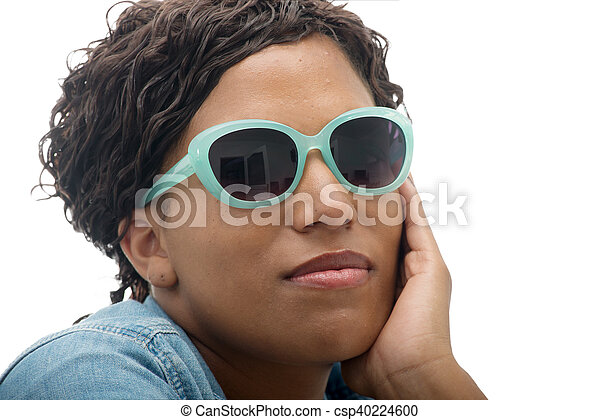 beautiful African American  young woman with sunglasses - csp40224600