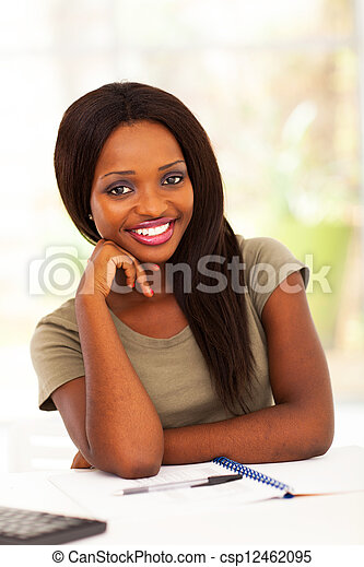 beautiful african college student  - csp12462095