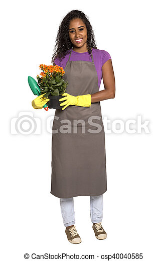 Beautiful African girl gardener with flower isolated on white background - csp40040585