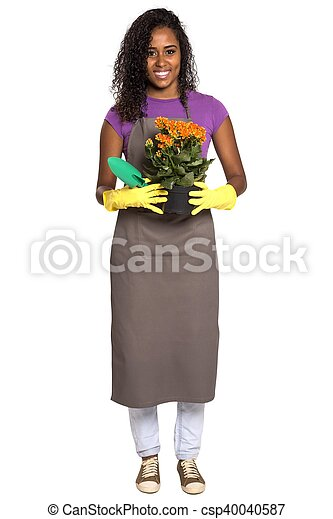 Beautiful African girl gardener with flower isolated on white background - csp40040587