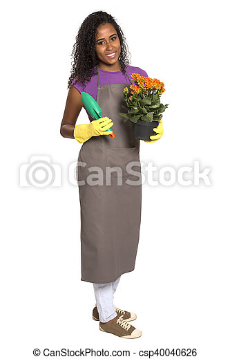 Beautiful African girl gardener with flower isolated on white background - csp40040626