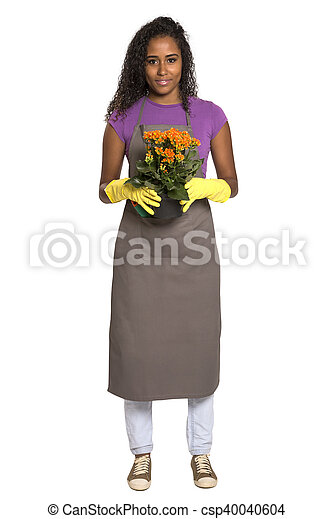 Beautiful African girl gardener with flower isolated on white background - csp40040604