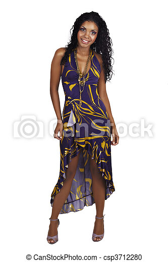 Beautiful African woman with long curly hair - csp3712280
