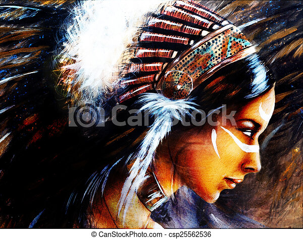 Beautiful Airbrush Painting Of A Young Indian Woman Wearing A Bi