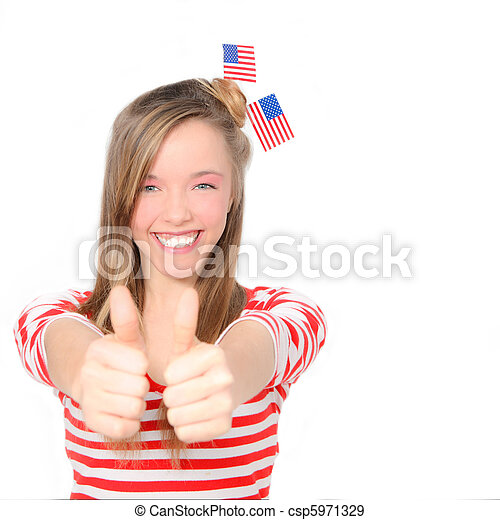 beautiful American young woman celebrating 4th of july with flag - csp5971329