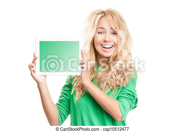 Beautiful and happy young woman with tablet computer. - csp10512477