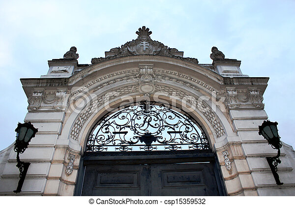 Beautiful arch on a background of the sky in Lviv - csp15359532