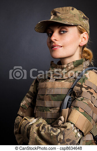 Beautiful army girl - csp8634648
