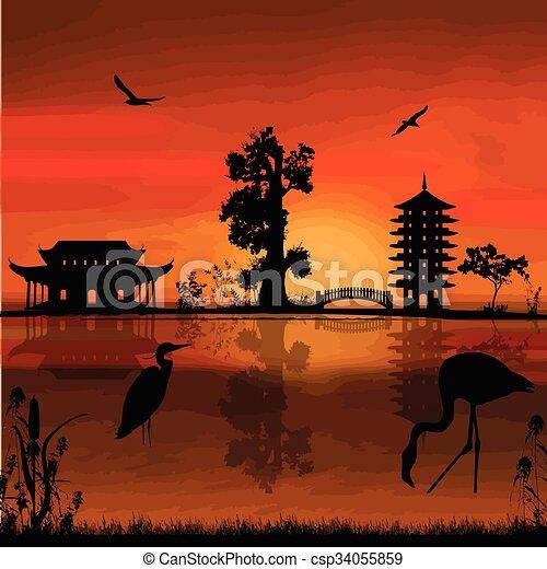 Beautiful asian landscape - csp34055859