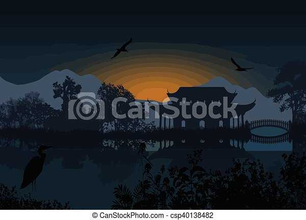 Beautiful Asian Landscape Near Water On White Background Vector