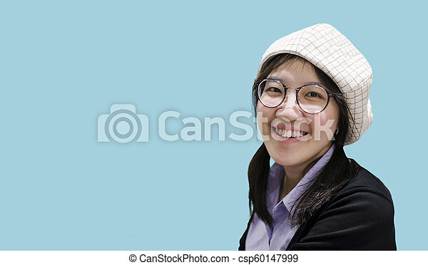 Beautiful asian woman smiling with copy space - csp60147999