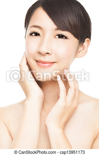 beautiful asian young woman with skin care - csp13951173