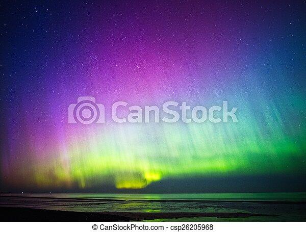 Beautiful Aurora Borealis over sea  - csp26205968