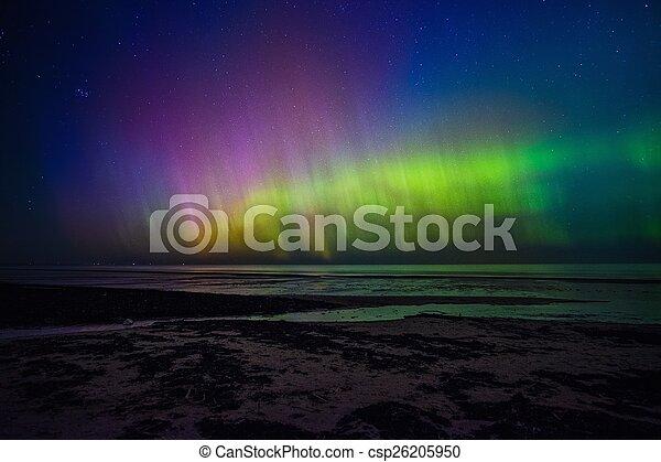 Beautiful Aurora Borealis over sea  - csp26205950