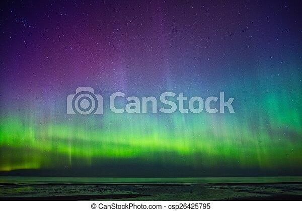 Beautiful Aurora Borealis over sea  - csp26425795