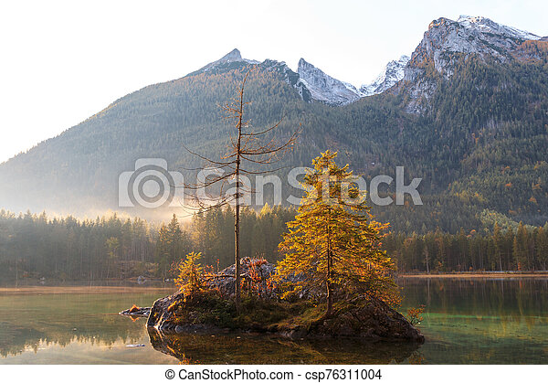 Beautiful autumn colors in the sunrise at the Hintersee lake in Bavaria alps - csp76311004