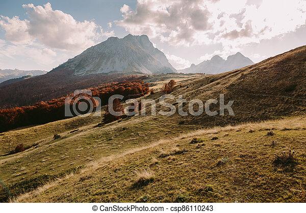 beautiful autumn mountain scenery - csp86110243