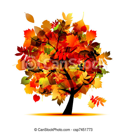 Beautiful autumn tree for your design  - csp7451773