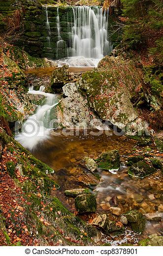 Beautiful Autumn Waterfall - csp8378901