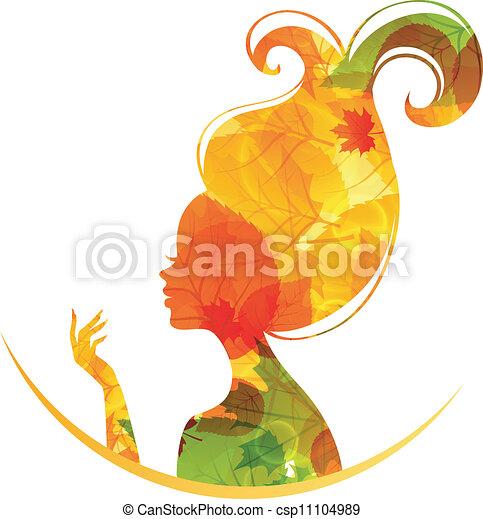 Beautiful autumn woman - csp11104989